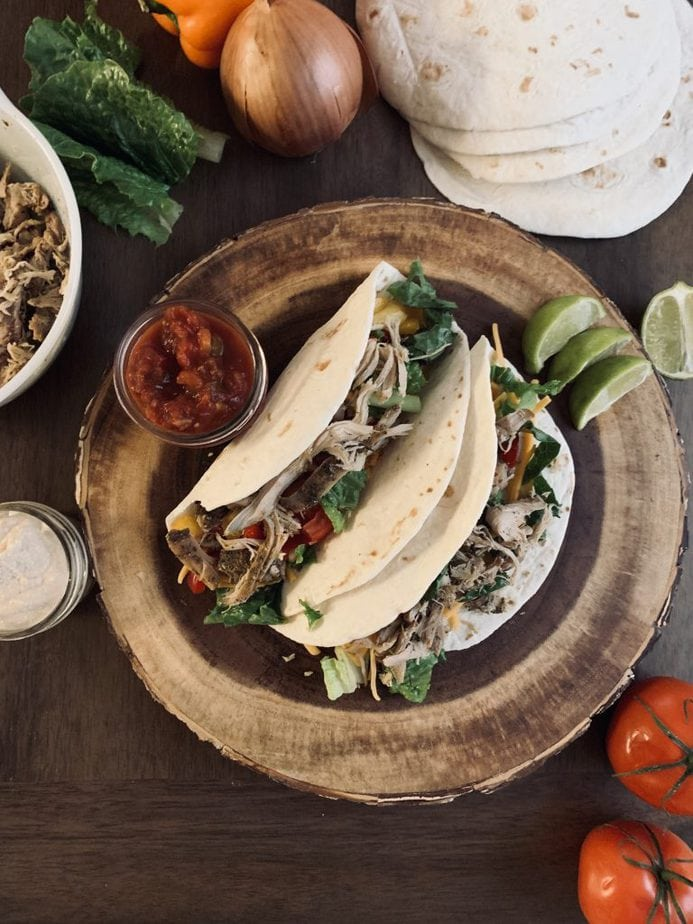 Ranch Chicken Tacos | rolled chicken tacos | rolled tacos | cool ranch chicken tacos | chicken ranch tacos weight watchers | avocado ranch chicken tacos | crockpot chicken tacos with salsa and ranch